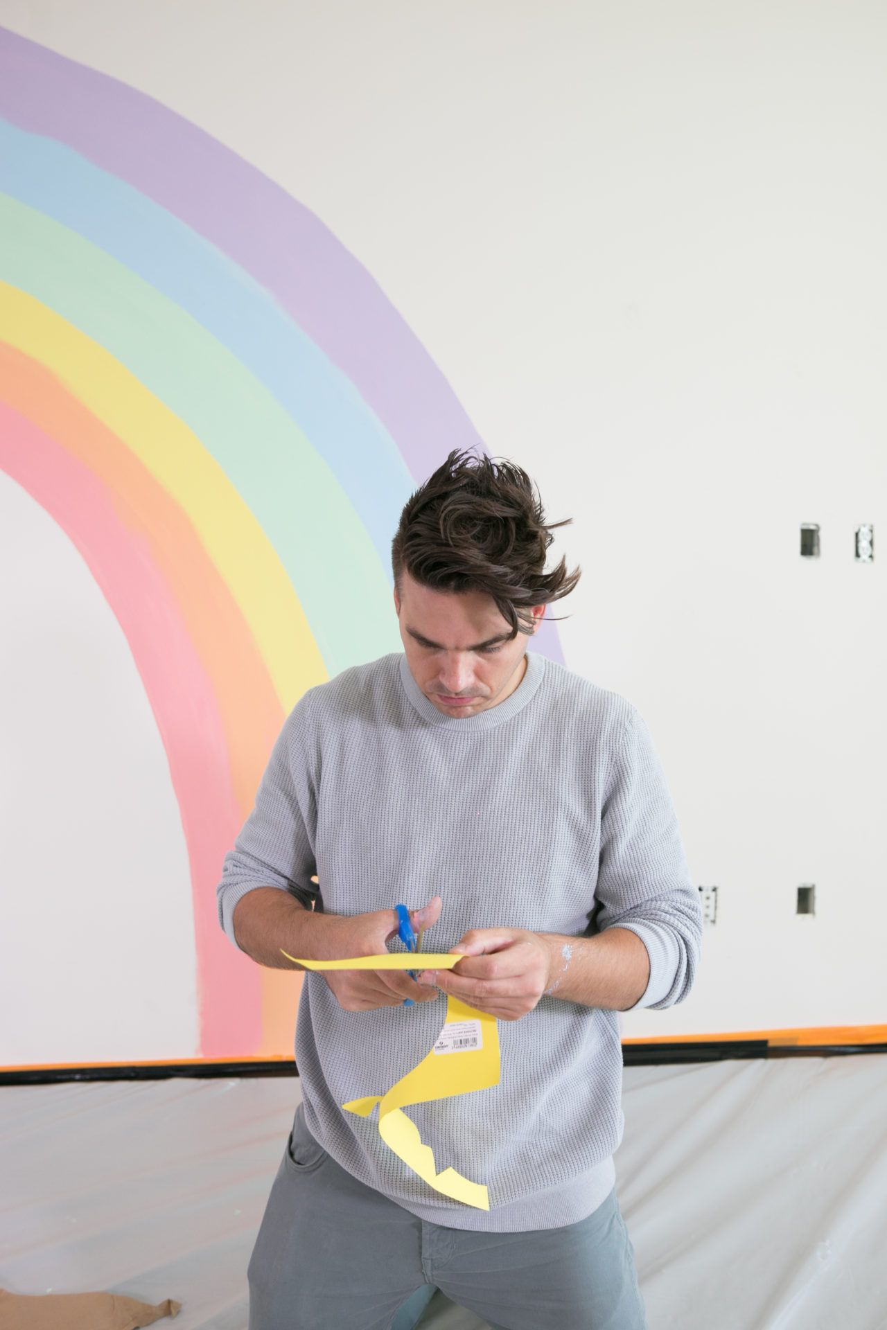Diy Rainbow Mural Wall In 2020 Kids Room Murals Rainbow Room