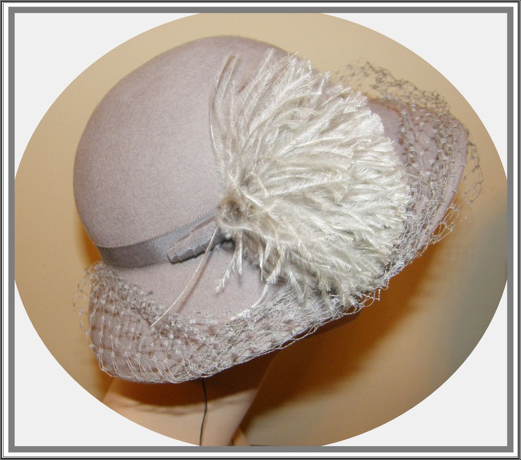 40s Look Grey Wool Hat with Pouf and Veil