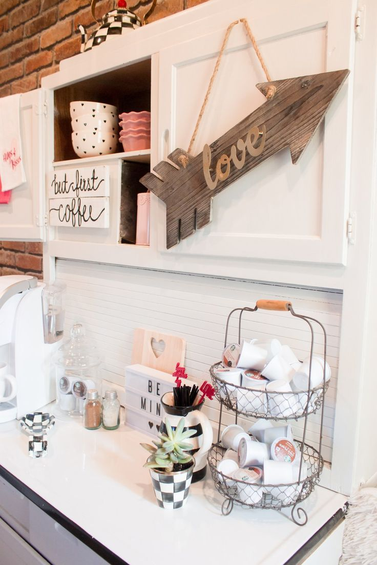 Styling Your Coffee Bar And Breakfast Nook For Valentines Day And The Entire Month Of February Coffee Bar Home Coffee Bar Station Coffee Bar Design