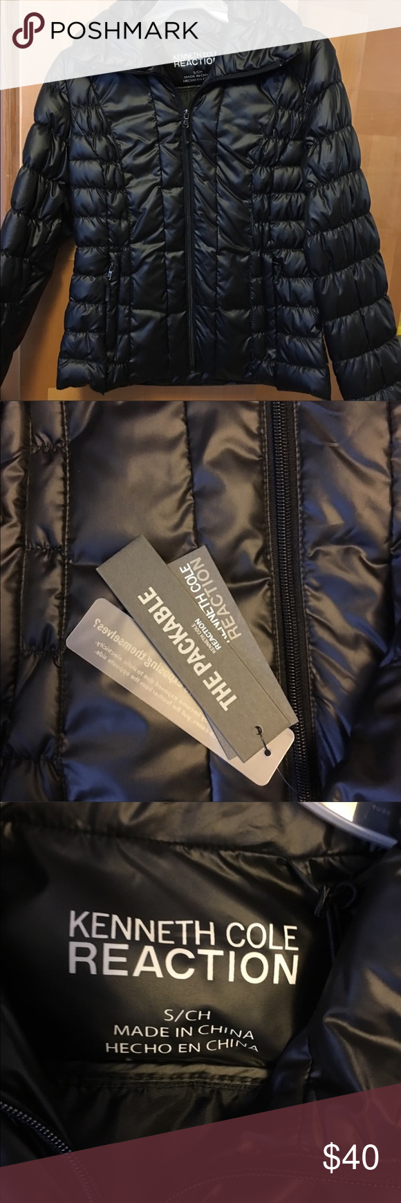 Kenneth Cole packable down jacket New with tags!!! Black packable down jacket Kenneth Cole Reaction Jackets & Coats Puffers
