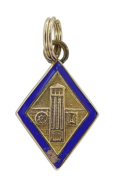 1940 S Vintage Engineering School Charm In 10 Karat Yellow Gold With Blue Enamel School Of Engineering Antique Gold Custom Charms