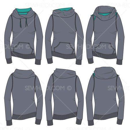 b181a7fb62 Women's Cowl Neck Sweatshirts Fashion Flat Template   SKETCHES ...
