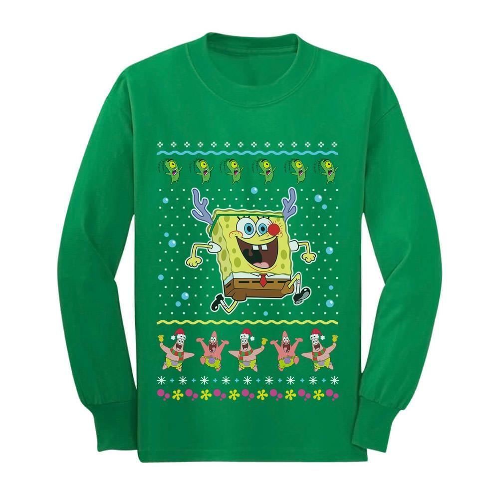 Ugly Christmas Sweater Toddler//Kids Sweatshirt Tstars Spongebob Xmas Reindeer