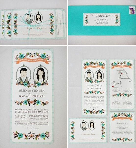 personalized drawing of the couple for wedding invitations