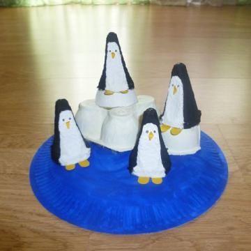 Pinguine aus pappteller und eierkarton selbst basteln in - Winter basteln im kindergarten ...