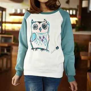 Color-Block Owl-Print Pullover from #YesStyle <3 JVL YesStyle.com