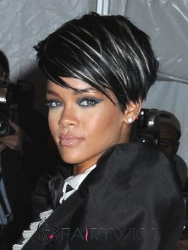 Adjustable Short Black Female Rihanna Curly Celebrity Hairstyle 8