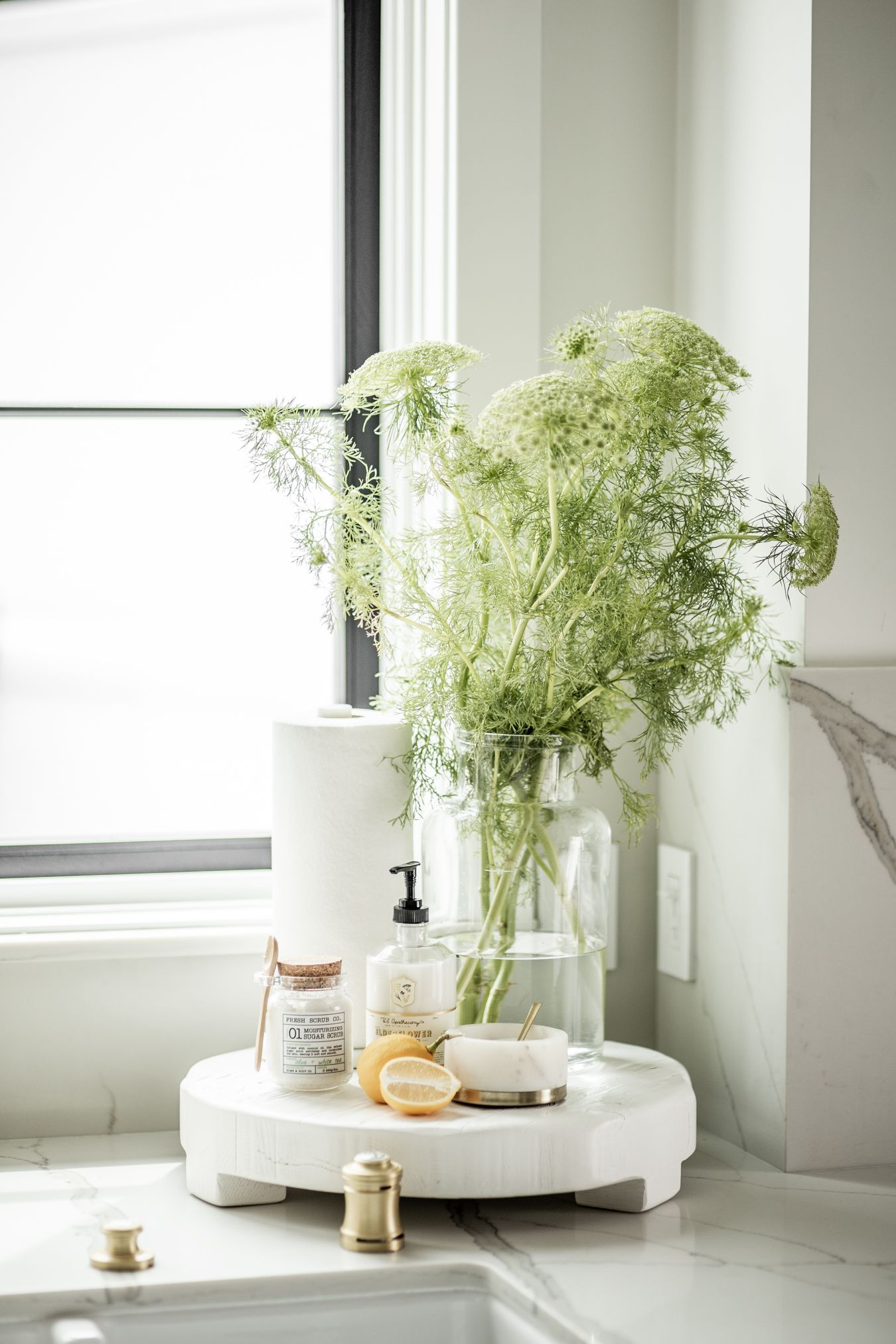Loving The Feel Of Spring Right Now We Added A Pop Of Greenery To Our Kitchen Sink Corner To Bri Kitchen Counter Decor Kitchen Accessories Decor Counter Decor