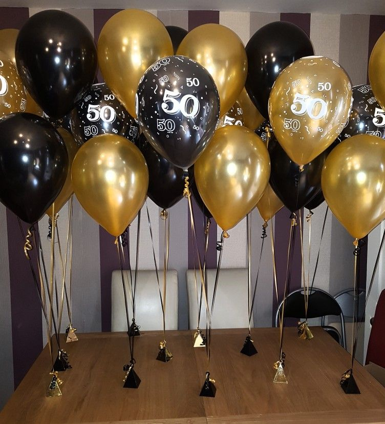 Black And Gold Double Standard 50th Birthday Balloons 50th