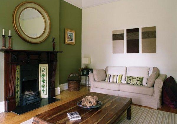 Green Contemporary Edwardian Living Room Home Living Room