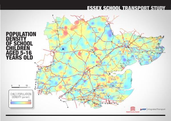 Densidad de población en edad escolar. Estudio de transporte escolar en Essex.  Derrick Thirlwell, via Behance
