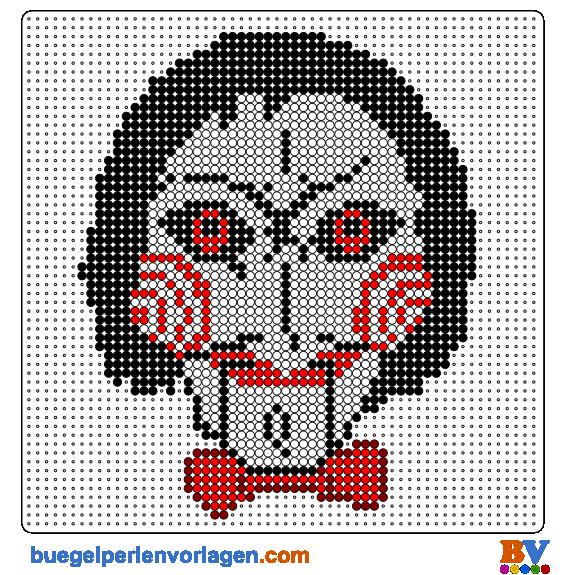 Saw Mask Perler Bead Patterns | Bead Sprites | Pixel Art | Hamma ...