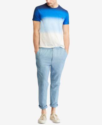 7f3f77703 Polo Ralph Lauren Men s Ombre Custom Slim Fit Jersey Pocket T-Shirt - Navy  White Dip Dye XXL