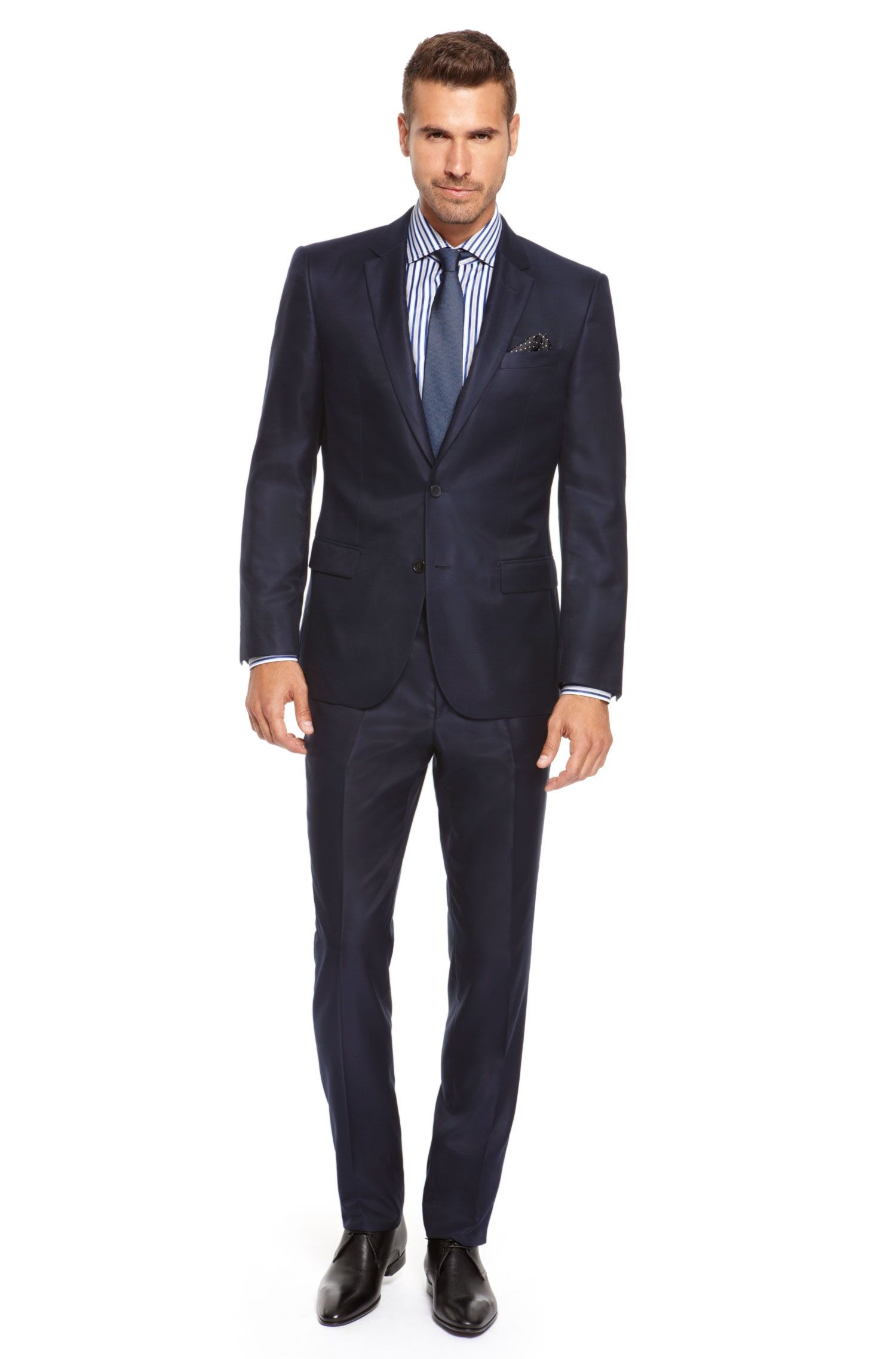 Harvers/Glover' | Slim Fit, Tailored Italian Silk Suit by BOSS ...