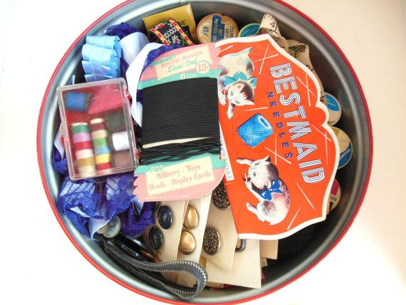 Vintage Sewing Tin Blues and Reds Filled by vintagebytheseashore, $25.00