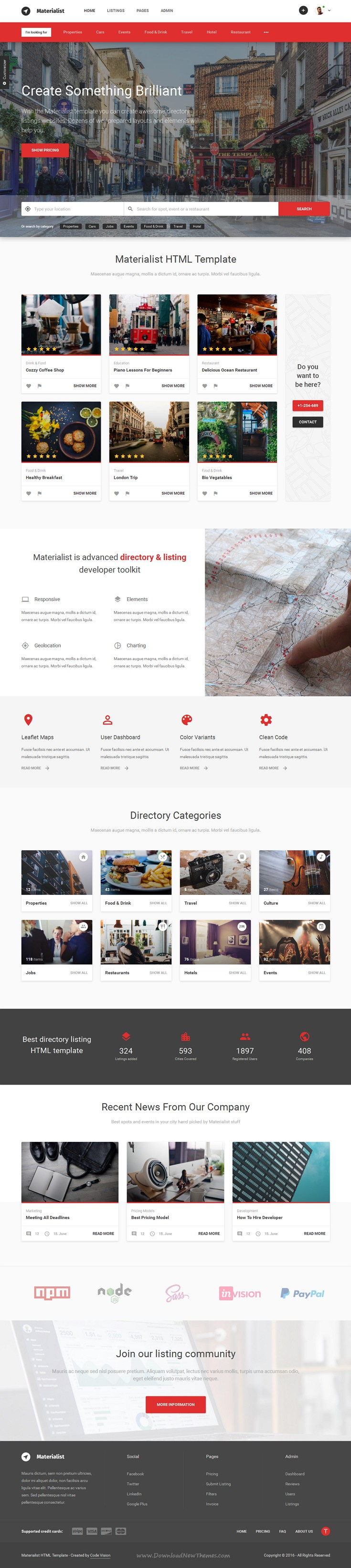 Materialist - Material Directory HTML Template | Material design