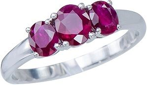 Eloquent Rare African Red Ruby Gemstones 18K White Gold 3 Stone Wedding Engagement Promise Jewelry Ring