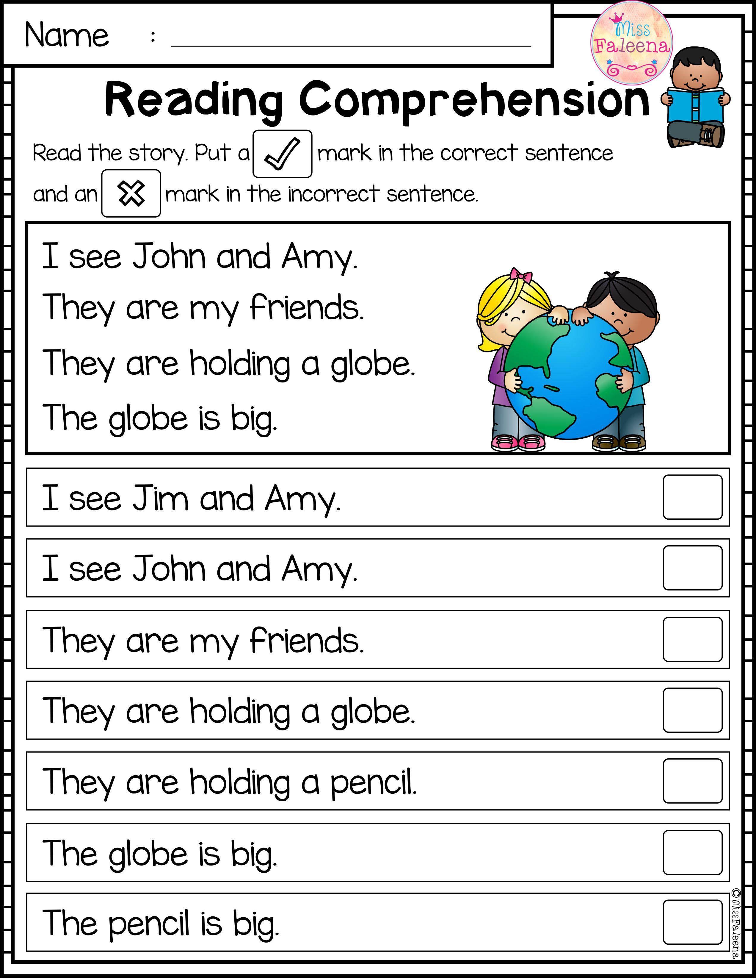 Comprehension Kindergarten Worksheets Printables
