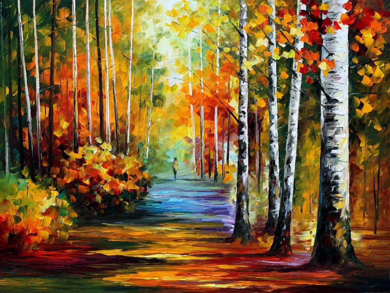 FOREST ROAD - PALETTE KNIFE Oil Painting On Canvas By ...