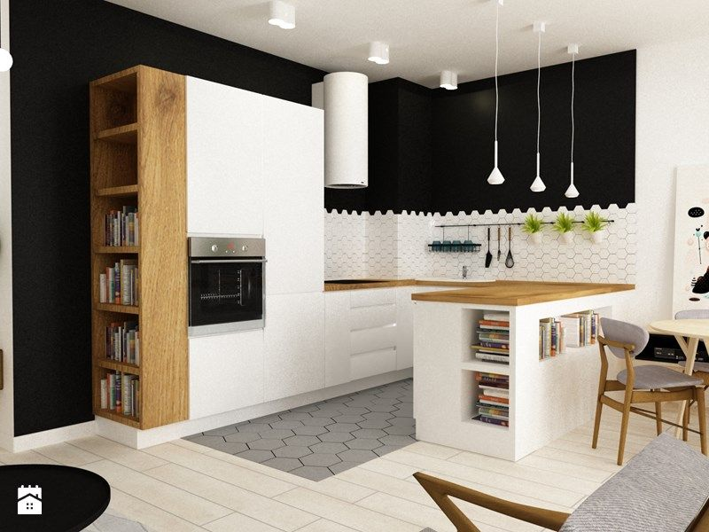 Cuisine moderne - Noir et blanc - Îlot central Idée décoration