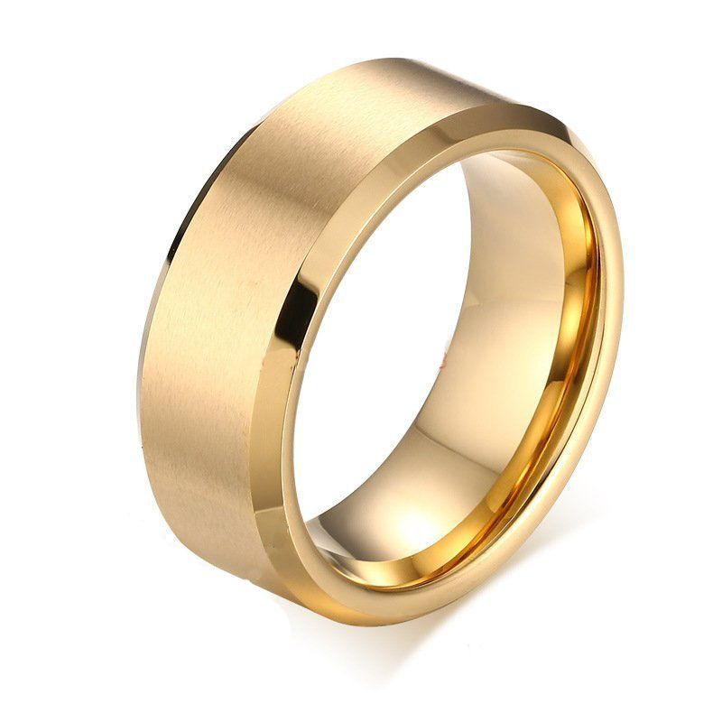 8mm Gold Color Mens Tungsten Carbide Marriage Ring Comfort Fit