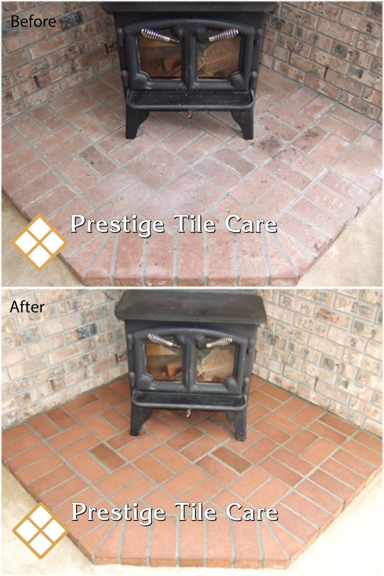 Cleaning and sealing bricks around wood burning stove. | Seattle ...