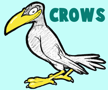 Step cartoon crows finished 350x350 How to Draw Cartoon Crows and Ravens with Simple Steps Cartooning Lesson