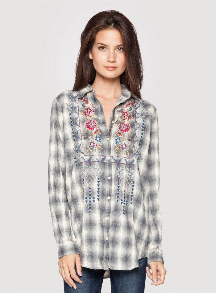 Johnny Was Clothing 3J Workshop Amanda Embroidered Grey Plaid Pleat Back  Smock Button Down Shirt 7b5a3e79fae8
