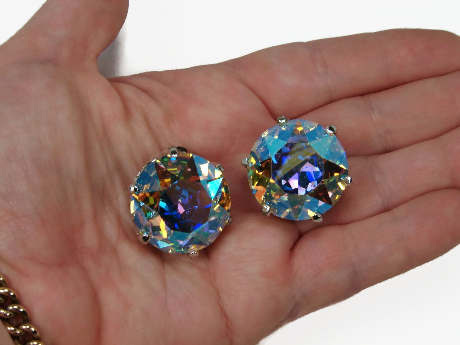 Huge Rhinestone Earrings Aurora Borealis Head Light Clip On Vintage Jewelry Runway By Vintagegemz