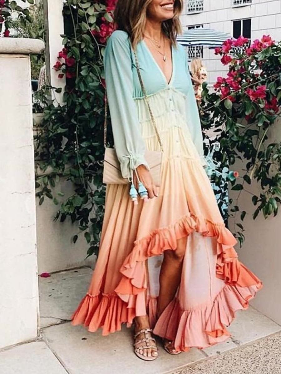8 Cocktails Videos Outfit Chic Long Sleeve Swing Dress High Low Ruffle Dress High Low Maxi Dress [ 1200 x 900 Pixel ]