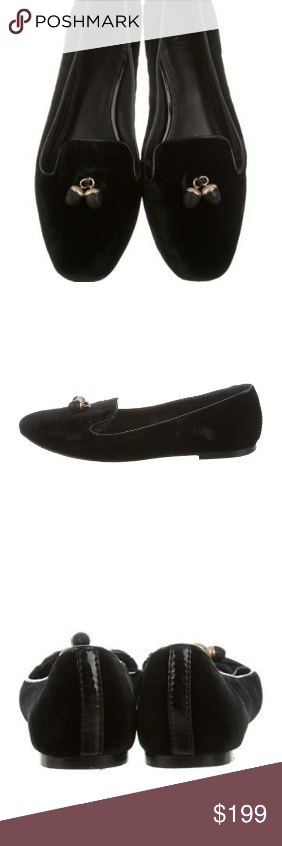 5f5171f05f52a2 Tory Burch Acorn Velvet Loafers Black velvet Tory Burch smoking slippers  with acorn charms at vamps