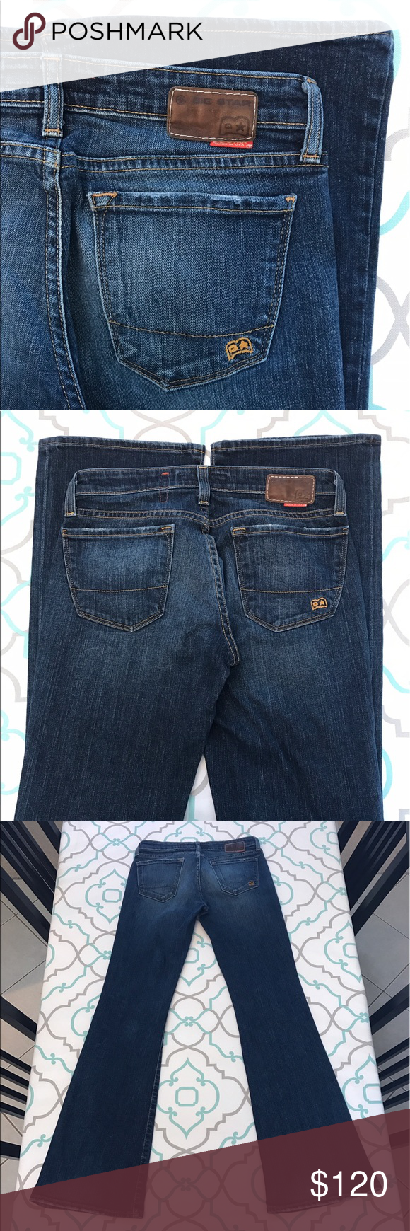 """💙👖Awesome Vintage Big Star Jeans!!👖💙27 3/4 33"""" 💙👖Awesome Vintage Big Star Jeans👖💙 Size 27 (3/4). 32.75"""" Inseam. 7.25"""" Rise. 14.25"""" Across Back. No Fabric Content. Looks like a """"sample"""" tag (jeans sent to buyers to make purchasing decisions). ; ) Great Stretch. Dark Blue Wash. Light Fading. Flare Fit. Light Distressing/Wear to Pockets and hems. Teeny Ti y little snag. SO CUTE! Big Stars! The Buckle! Ask me any questions! : ) Big Star Jeans Flare & Wide Leg"""