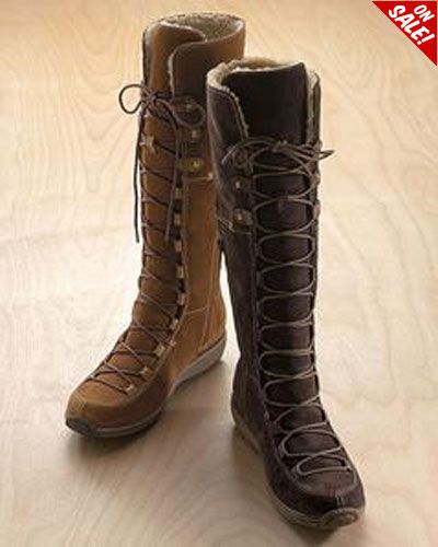 High Rise Shearling Lined Suede Boots For Ladies From