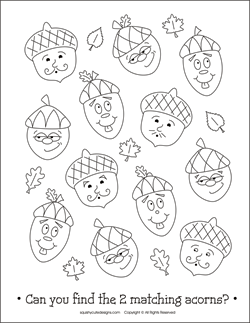 Free Thanksgiving coloring pages - acorn coloring pages - printable ...