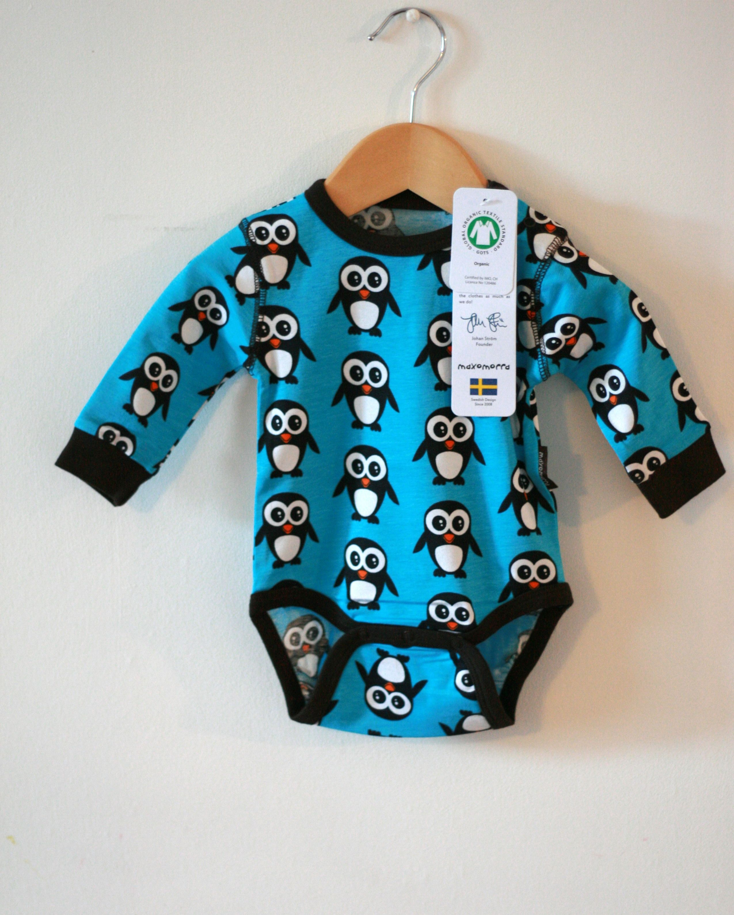 This cool Maxomorra penguin body in pink or blue organic cotton is