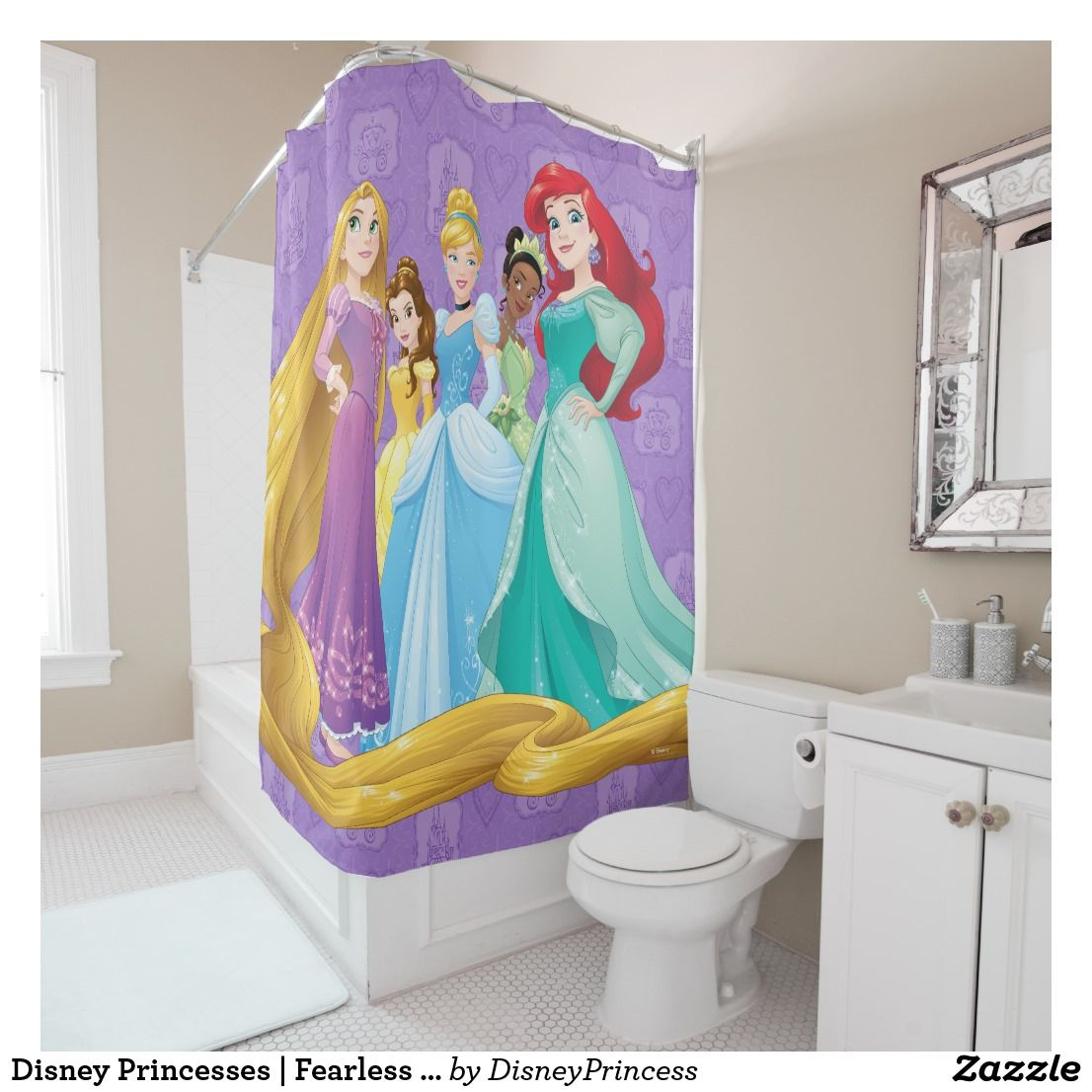 Disney Princesses Fearless Is Fierce Shower Curtain Zazzle Com