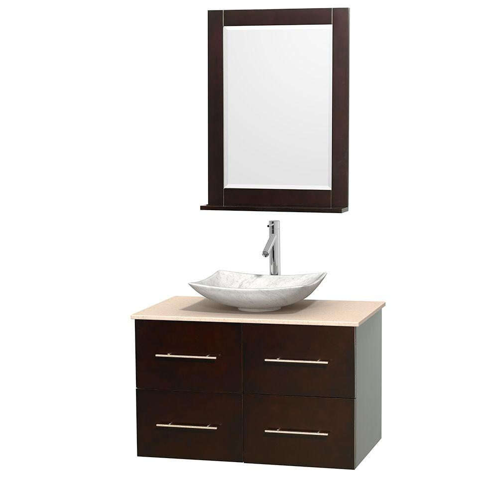 Wyndham collection centra in vanity in espresso with marble