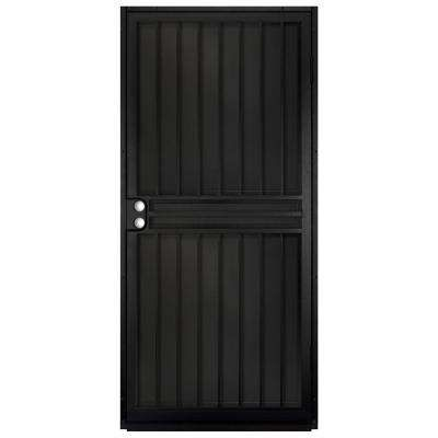 36 In X 80 In Guardian Black Surface Mount Outswing Steel Security Door With Black Perforated Aluminum Security Door Steel Security Doors Unique House Design