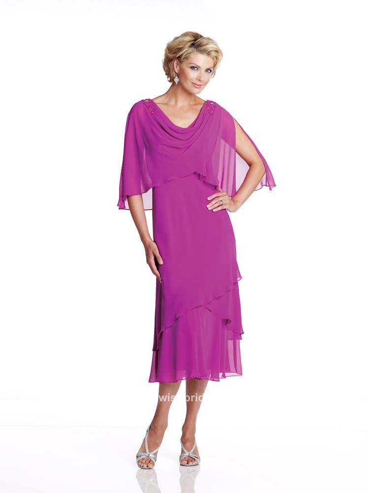 4f6dddfa446 Mother of the Bride Dress Tea Length with Flapped Sleeves     This is  spectacular