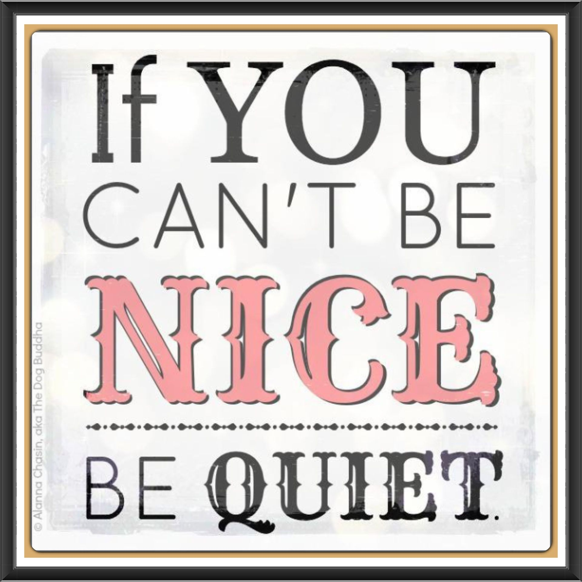 Be nice or be quiet