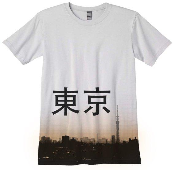 e91cccef2742 Japanese T-Shirt japan tee Tokyo Shirt Skyline Skytree hand silkscreened
