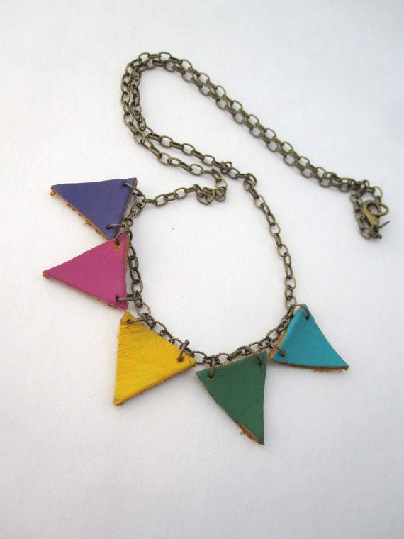 Colorful circus bunting necklace! $23