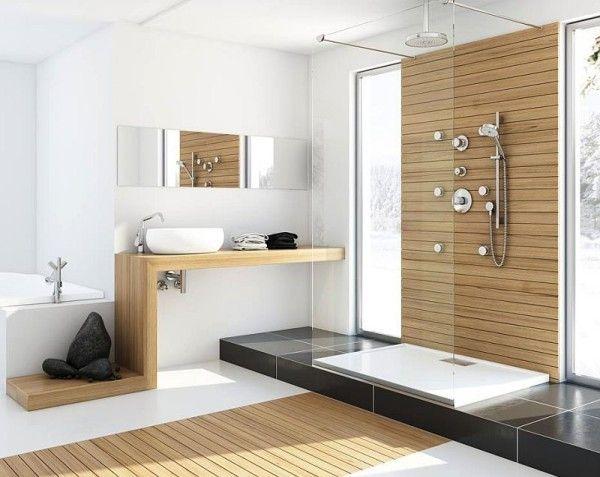 European Style Bathroom With Wood Wall