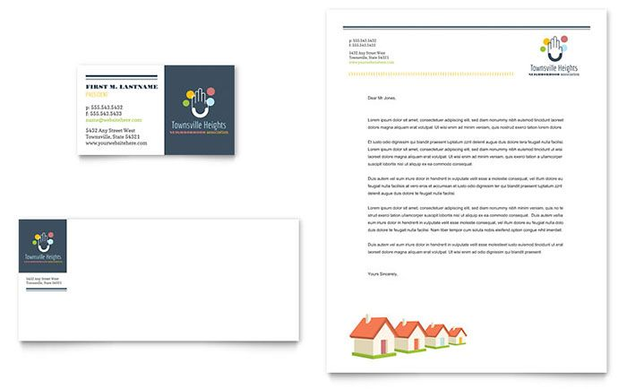 Homeowners Association Business Card and Letterhead Template - free postcard templates for word