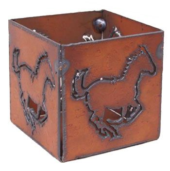 Running Horse Rustic Metal Votive Candle Holder