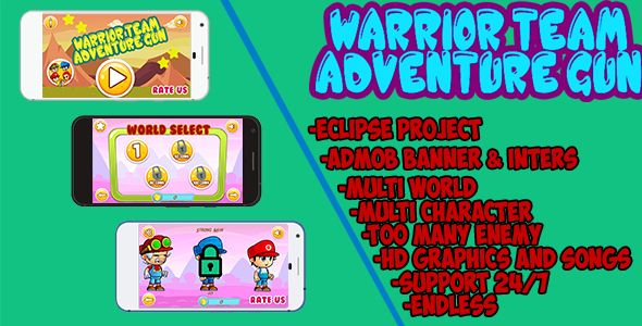 awesome Warrior group –Adventure Gun  –eclipse project With Admob (Games)