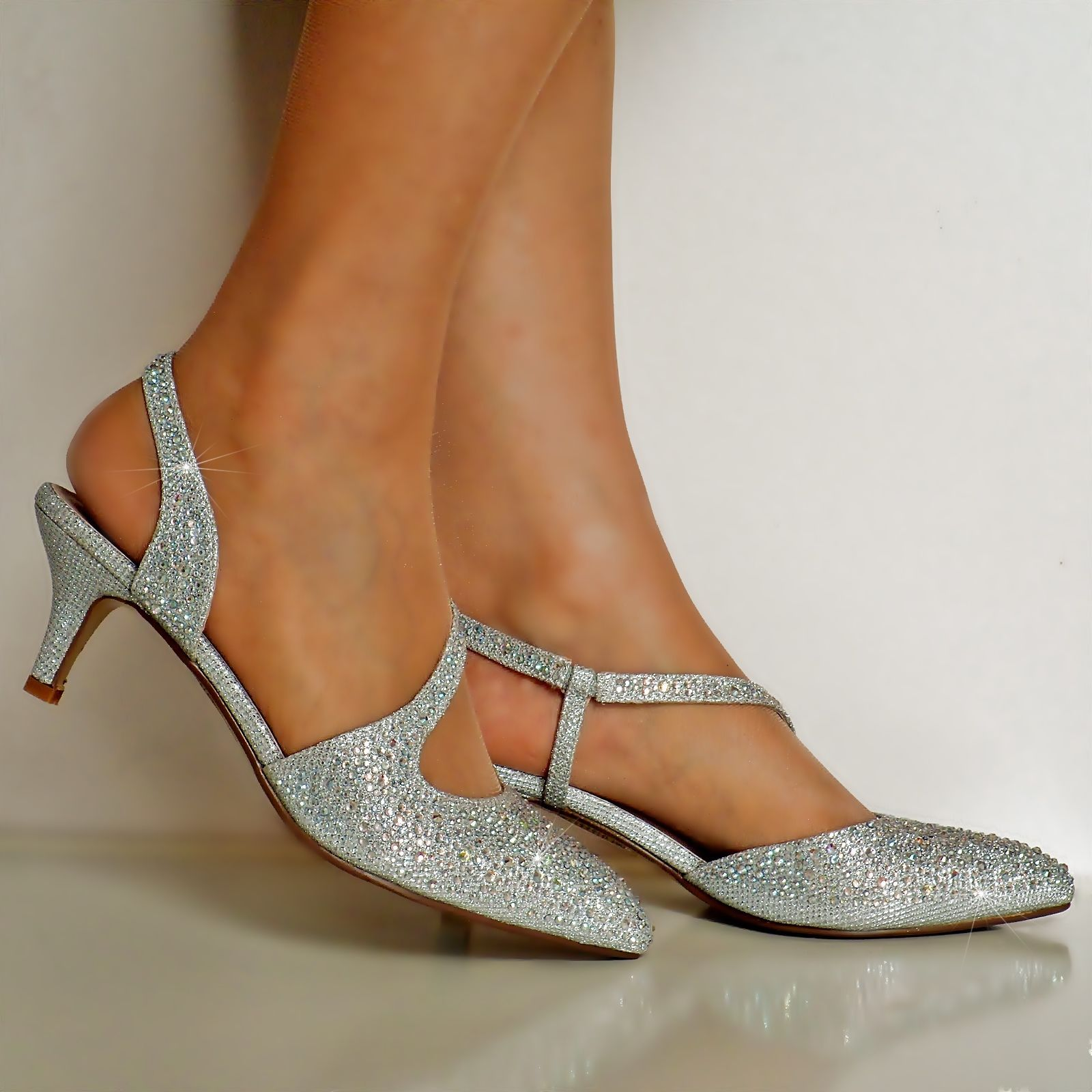 Silver Diamante Low Heel Shoes
