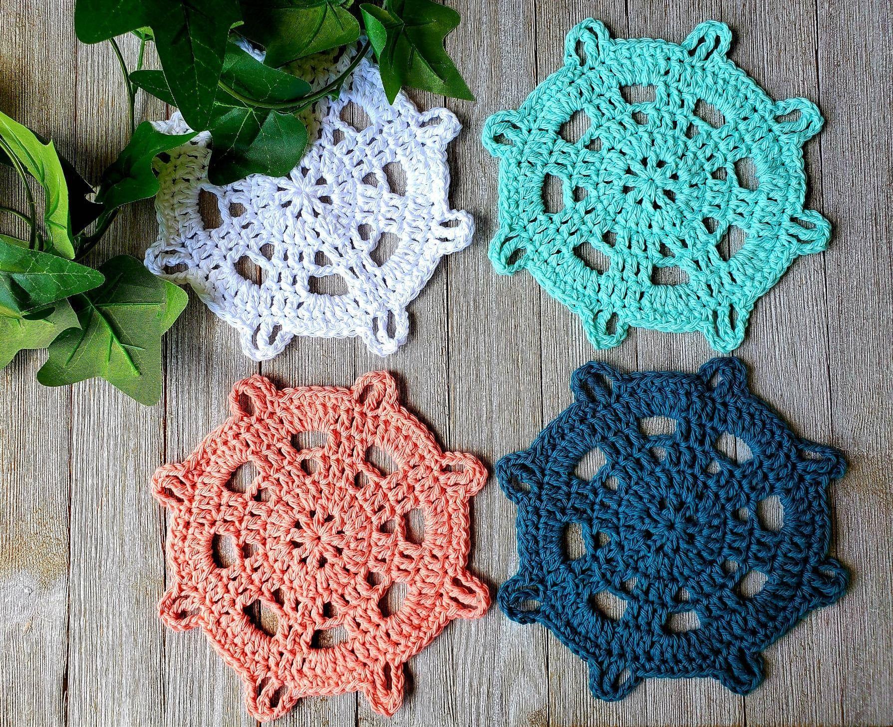 Beachy ship wheel coasters large crocheted cotton