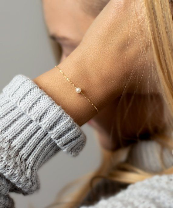 Photo of Minimal Bracelet – Tiny Freshwater Pearl Bracelet – Simple Jewelry – 14k Gold Fill Rose Gold or Silv