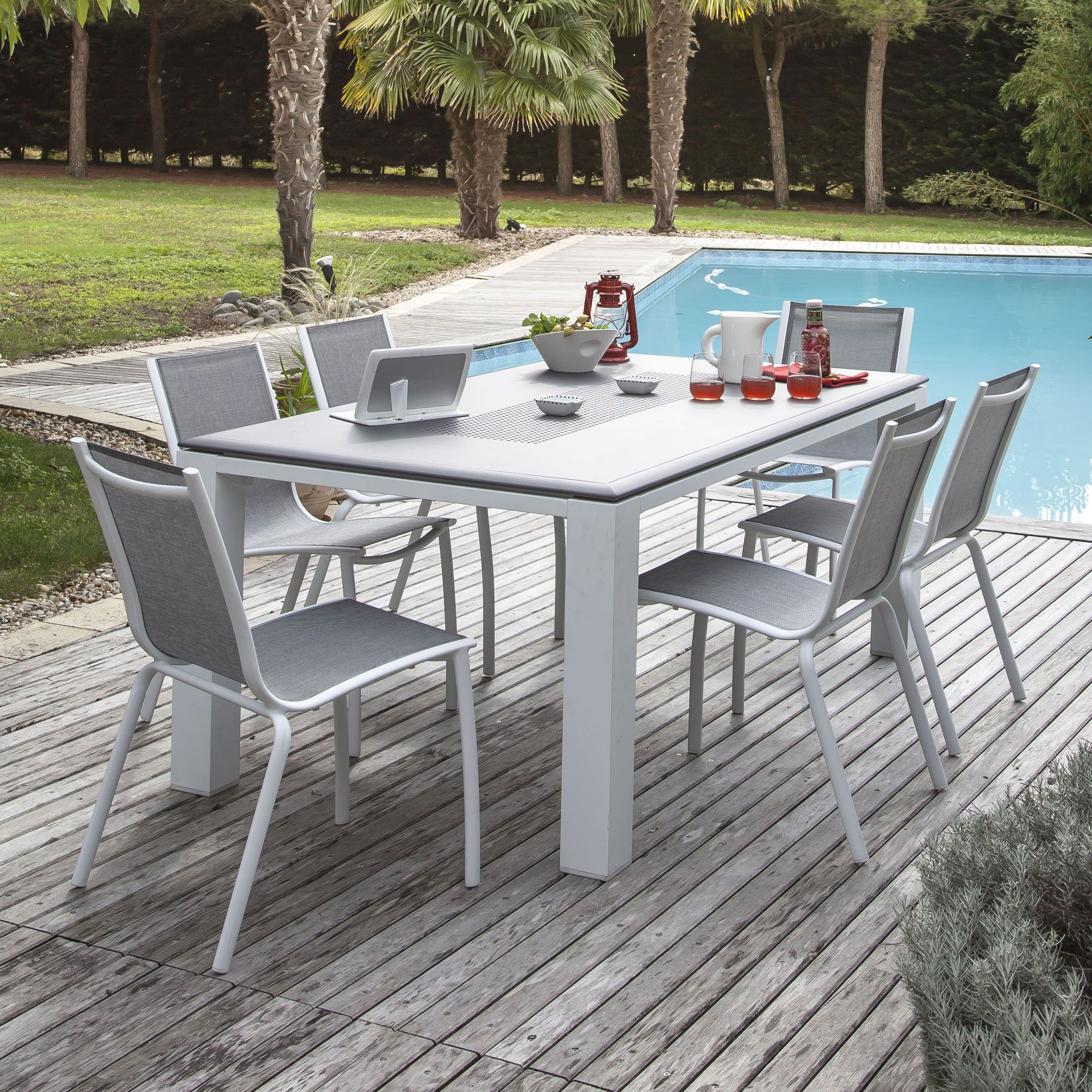 salon de jardin 6 places proloisirs jardin pinterest table aluminum table et salons. Black Bedroom Furniture Sets. Home Design Ideas